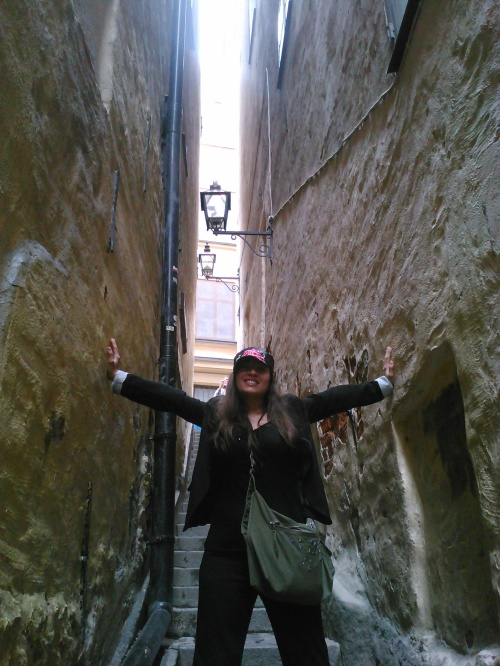 "Narrowest alley in the Gamla Stan, the historic ""Old Town"" which dates back to as far as the 13th century, medieval times."